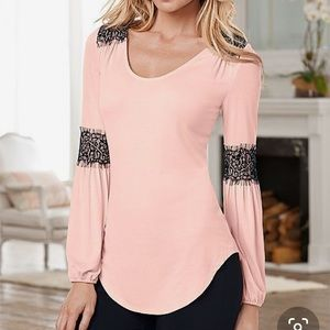Venus Scoop Neck Top with Lace Detail